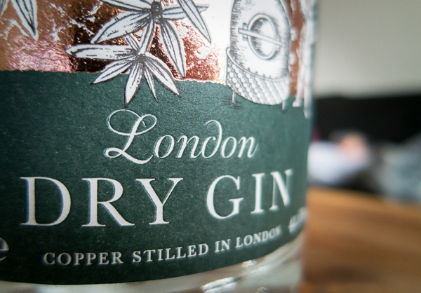 Label on Sipsmith Gin