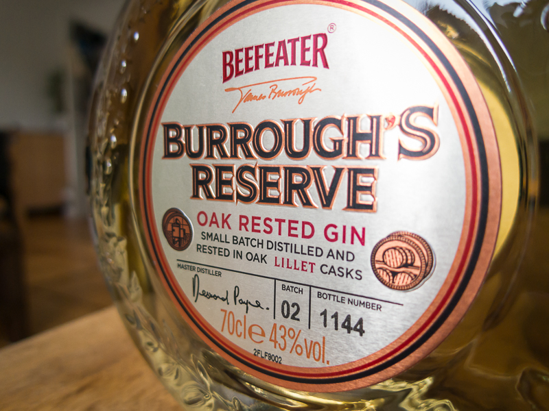 Label of  Beefeater Burrough's Reserve Oak Rested Gin