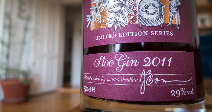Sipsmith Sloe Gin label. Foto: Michael Sperling