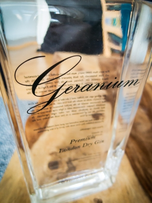 Geranium Gin bottle. Photo by Michael Sperling