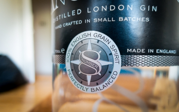 Langley's No. 8 Gin label. Photo by Michael Sperling