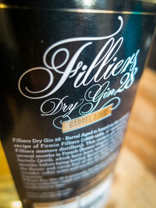 Back Label of Filliers Dry Gin 28 Barrel Aged
