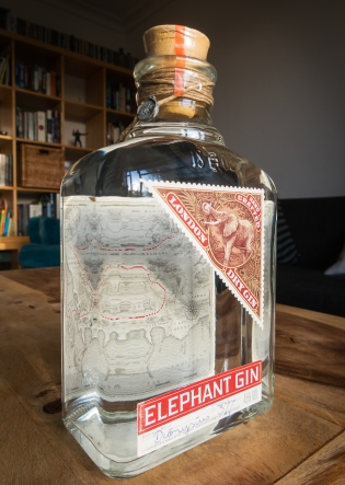 Elephant Gin bottle. Photo by Michael Sperling