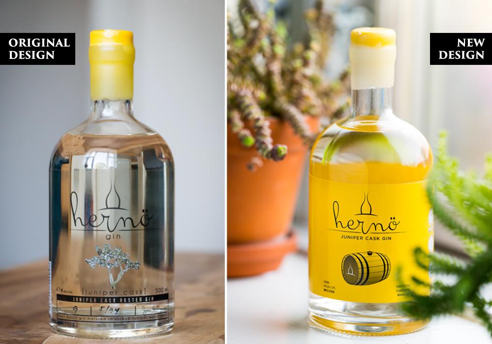 Oprindelige design versus nye design af Hernö Juniper Cask Gin. Photo by Michael Sperling.