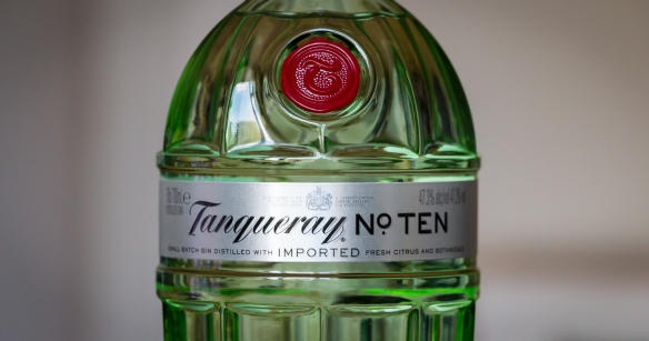 Tanqueray No. Ten label. Photo by Michael Sperling.