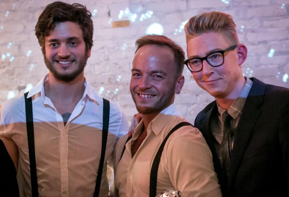 Vinderne Daniel Jordanov og Frederik Bjørn Hansen sammen med aftensvært Emil Thorup. Photo by Michael Sperling.