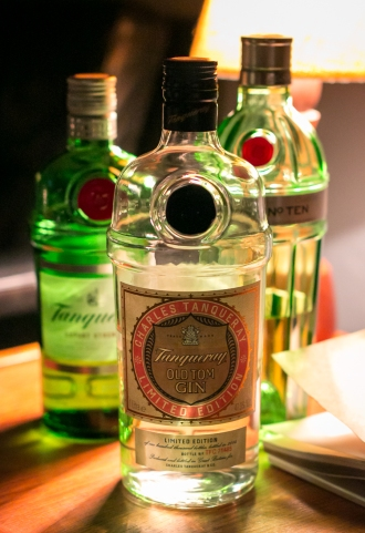 Tanqueray Gin lineup. Photo by Michael Sperling.