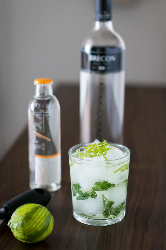 Brecon Special Reserve Gin, 1724 Tonic, korianderblade og limeskal. Photo by Michael Sperling.