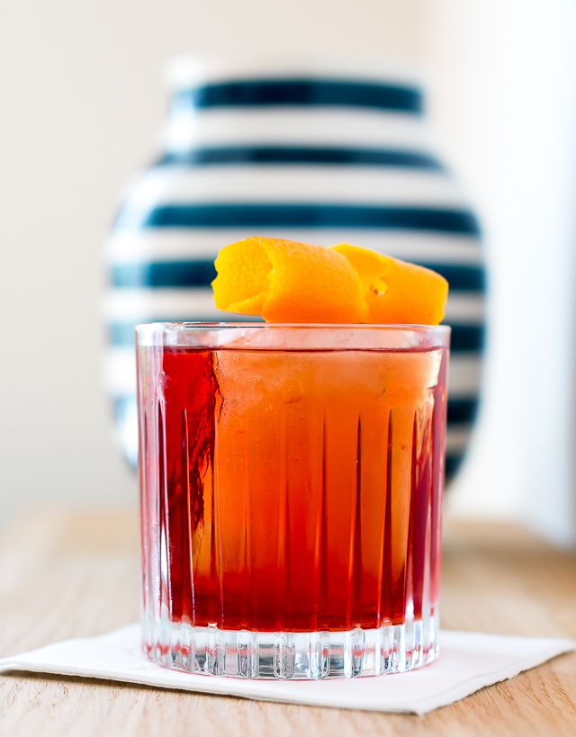 Negroni with Hernö Navy Strenght Gin, Dolin Rouge Vermouth and Campari. Photo by Michael Sperling.
