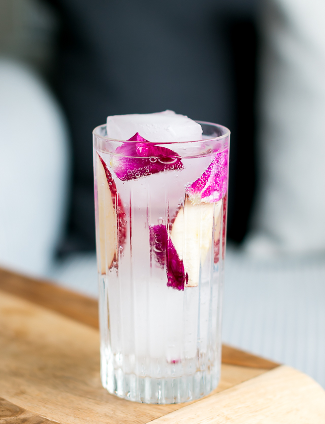 Nordisk Gin and Tonic med hybenrosen og æble. Photo by Michael Sperling.