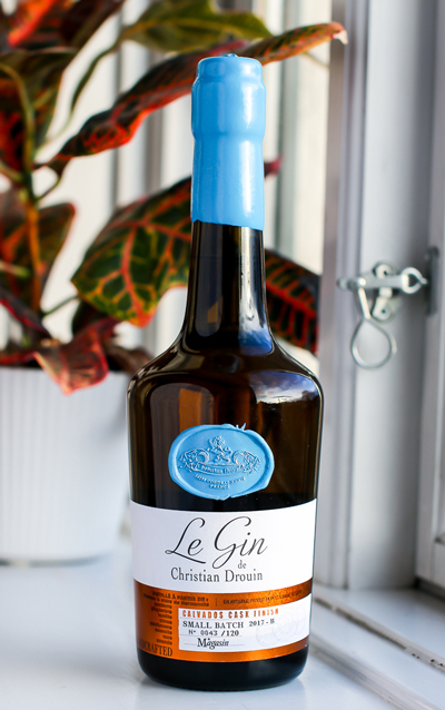 Le Gin de Christian Drouin Calvados Cask Finish. Photo by Michael Sperling.
