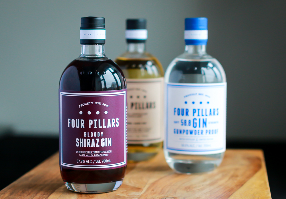 Four Pillars Bloody Shiraz, Four Pillars Barrel Aged Gin, Four Pillars Navy Strength Gin. Photo by Michael Sperling
