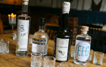 Aftenens hovedpersoner: Nordisk Gin, Radius Lab Batch no. 18, Il Mio Gin og ELG Gin no. 1. Photo by Michael Sperling.