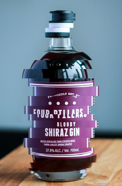 Four Pillars Bloody Shiraz Gin. Photo and graphics by Michael Sperling.