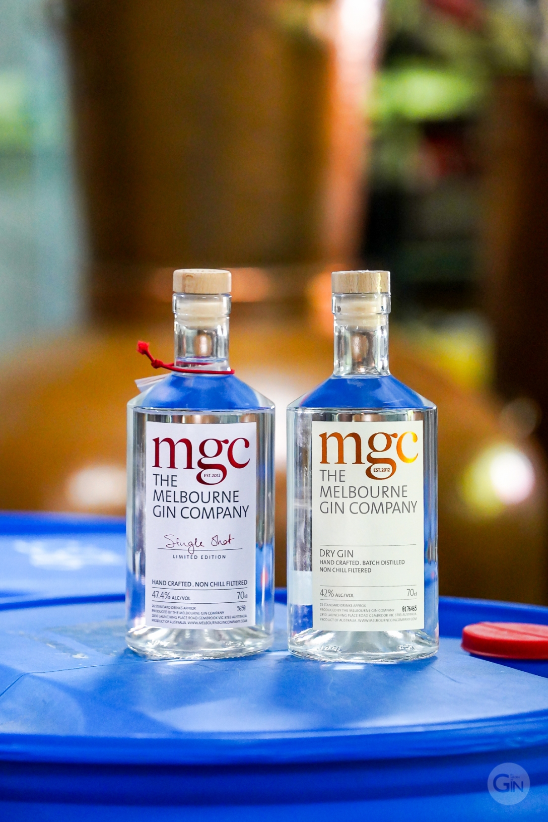 The Melbourne Gin Company Dry Gin og The Melbourne Gin Company Single Shot Gin side om side. Photo by Michael Sperling.