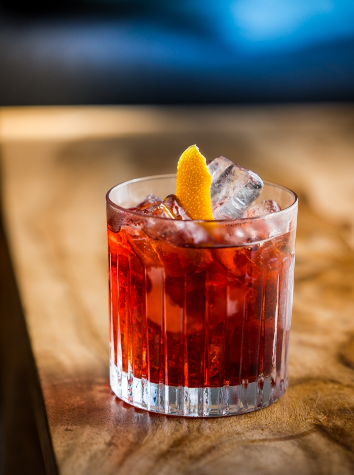 Tanqueray Flor de Sevilla negroni. Photo by Michael Sperling.