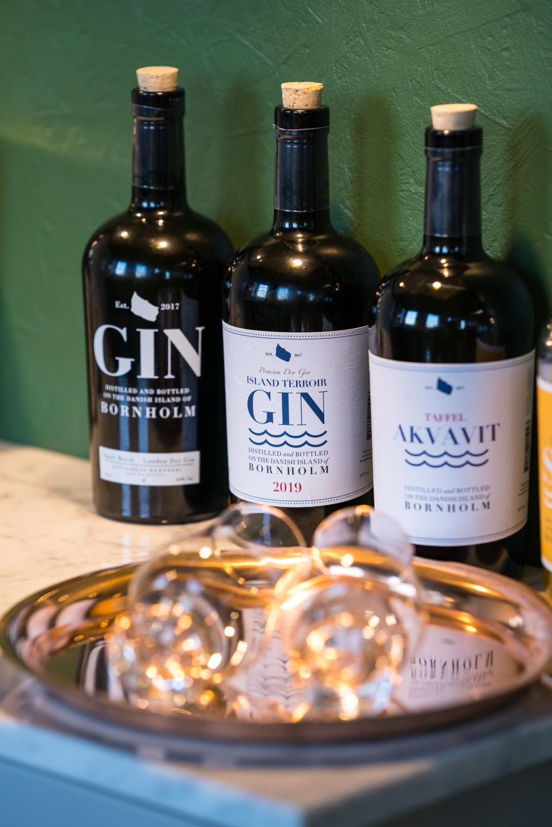 Gin og akvavit fra Østersøens Brænderi. Photo by Michael Sperling.